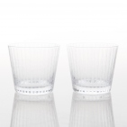 A Pair Sake Shot Glass  Bamboo Striped - Edo Kiriko
