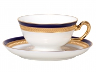 Cup & Saucer, Embossed in Gold