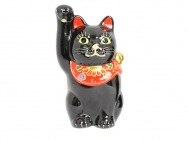 Kutani Beckoning Cat (Maneki-neko) in Black