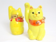 Kutani Beckoning Cat (Maneki-neko) in Yellow