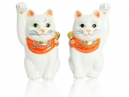 Kutani Beckoning Cat (Maneki-neko) in White