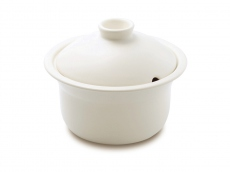Heat Resistant Ceramic Stew Pot - Small White