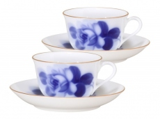 """Blue Rose"" Cup & Saucer (tea / coffee, pair)"
