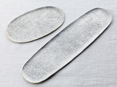 "Pure tin rectangular plate Large & Small - ""cracked ice"""