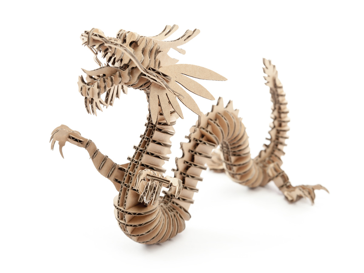 D torso laser cut cardboard animals dragon 133 for Cardboard dragon template
