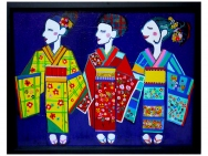 Oil picture /Kimono Girls (Taro Otani painting / graphics)