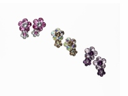 Dual-flower Pierced Earrings/Earrings- Swarovski® crystals