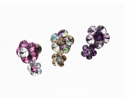 Dual-flower Lapel Pin -  Swarovski® Crystals