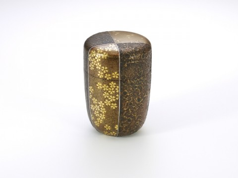 Sayanuri Gold-makie-lacquered Hoso-natsume Tea Canister