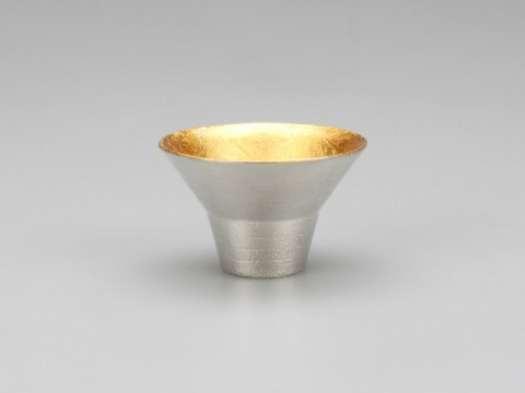 Sake Cup of Pure Tin & Gold Leaf