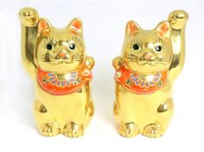 Kutani Beckoning Cat (Maneki-neko) in Gold
