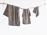 leopard bath towel / hand towel / wash towel / 3 piece set