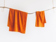 sunset orange bath towel / hand towel / 2 piece set