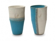 """Hidariuma"" White & Blue Beer Mug Set (Pair)"