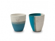 """Hidariuma"" White & Blue Cup Set (Pair)"